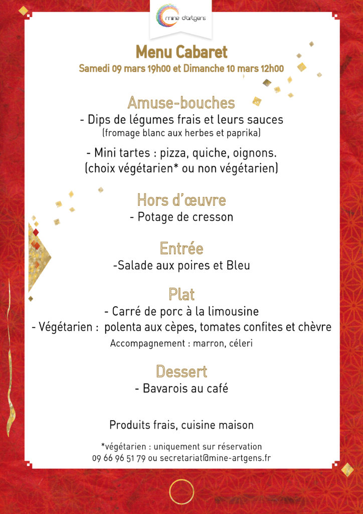 Menu soiree Cabaret 2019